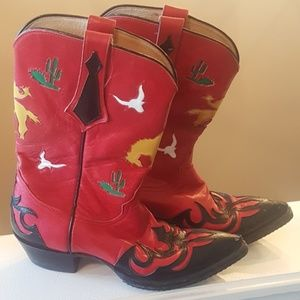 Handcrafted Red LARRY MAHAN Cowboy Boots 7.5 M